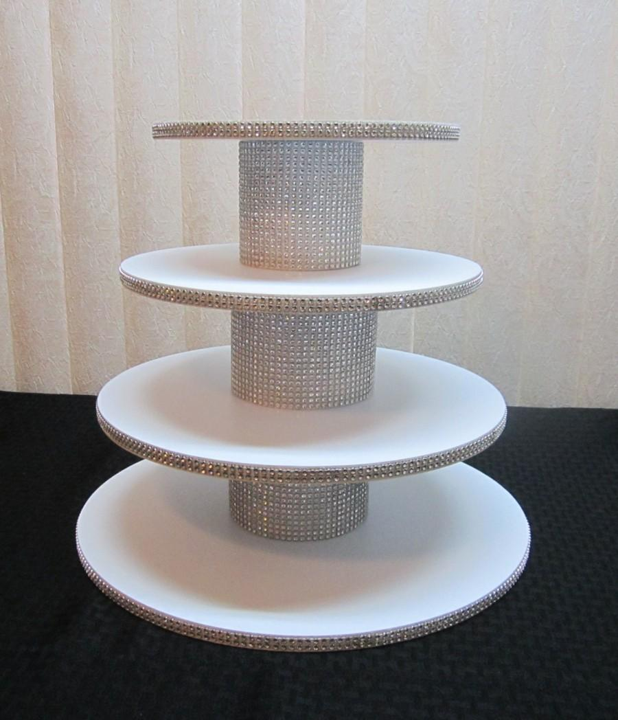 Mariage - 35 - 45 Cupcakes, 4 Tier Round or Square Cupcake Stand, Sparkly Rhinestone Mesh, Wedding, Quinceanera, Sweet 16, Birthday, Bling, 12 colors!