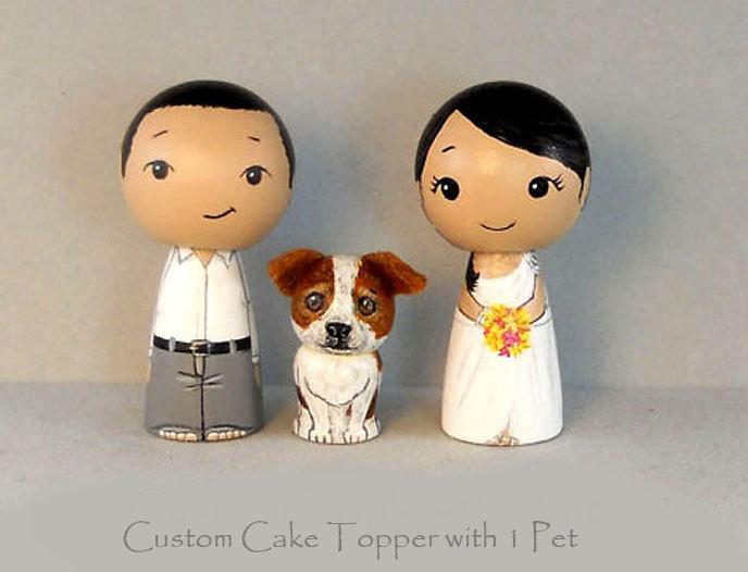 Свадьба - Custom Cake Toppers One Pet  Bride Groom Pet Kokeshi doll cake toppers