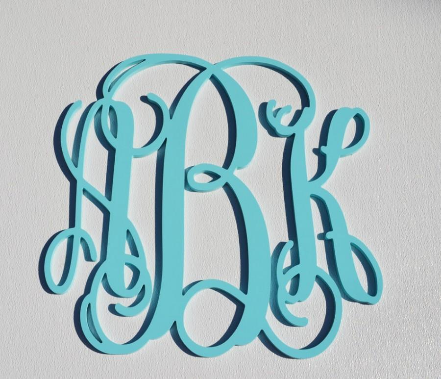 Свадьба - 24'' Custom Wood Monogram in Vine Font, Wooden wall monogram, photo prop, nursery decor