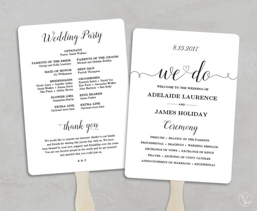 Printable Wedding Program Template Fan Wedding Program DIY Kraft - 5x7 wedding program template
