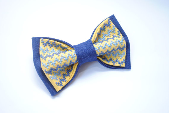 Wedding - Blueyellish Bow tie Wedding bow tie Blue yellow colours Wedding in yellow blue Gromm's outfit Le Noeud papillon homme Maid of honor Chevron