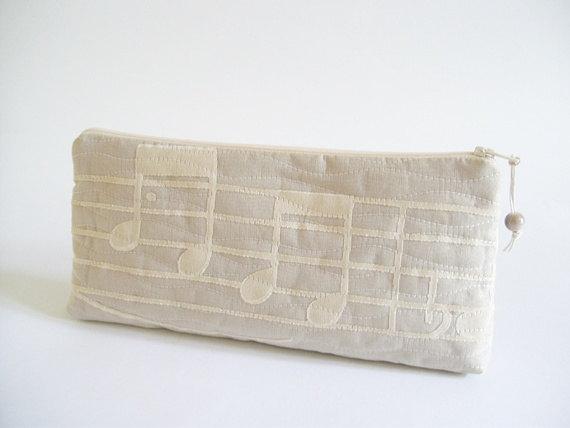 Mariage - Music Notes Clutch, Unique Wedding Clutch, Nude Clutch Purse, Women Musicians Clutch Bag