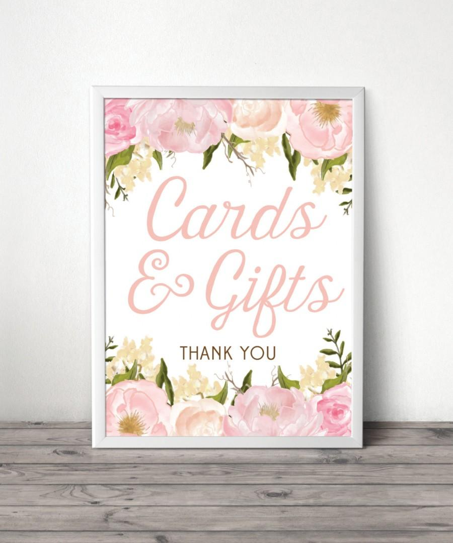 "Свадьба - 8"" x 10"" Pink Floral Wedding Gifts and Card Table Sign File - Wedding Reception Sign - Cards Sign - Gifts Sign - DIY - Instant Download"