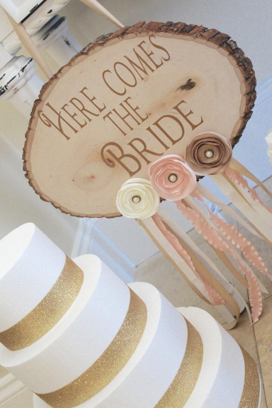 Wedding - Rustic Wedding Signs - Wooden Wedding Sign - Here Comes The Bride Sign - Flower Girl Sign - Rustic Wedding Decor - Ceremony Sign - Rose Gold