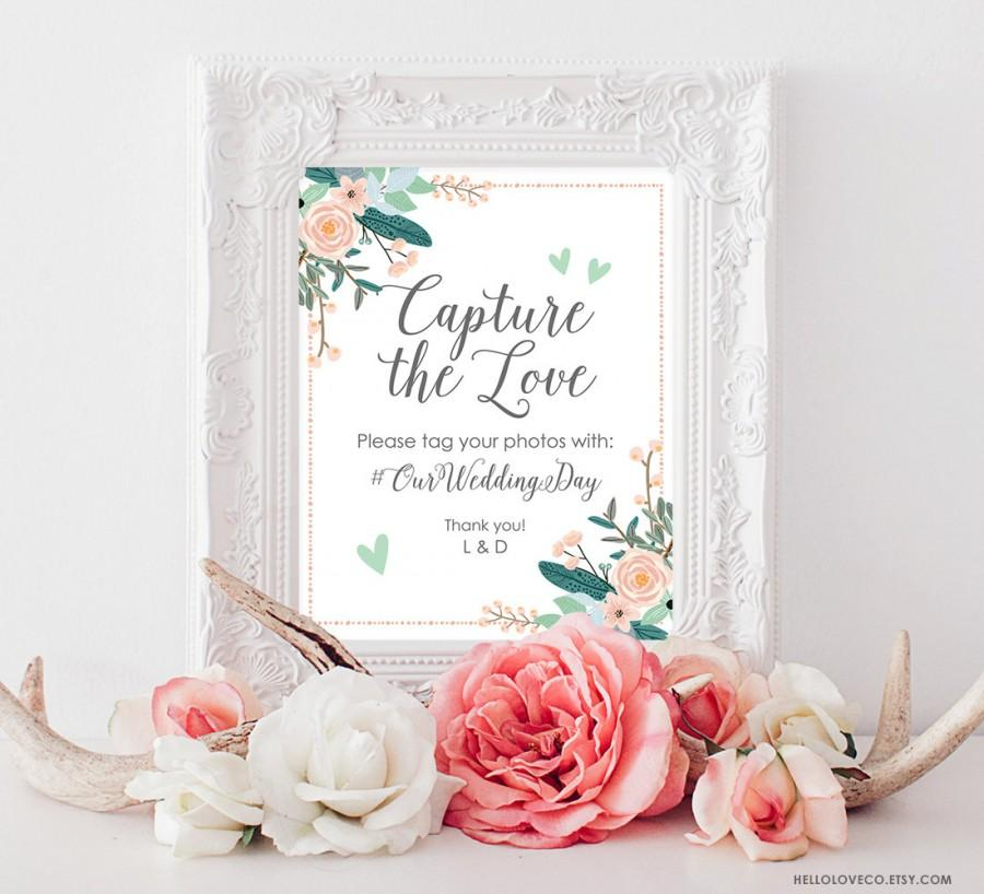 c60e96a084a7 PRINTABLE Wedding Hashtag Sign