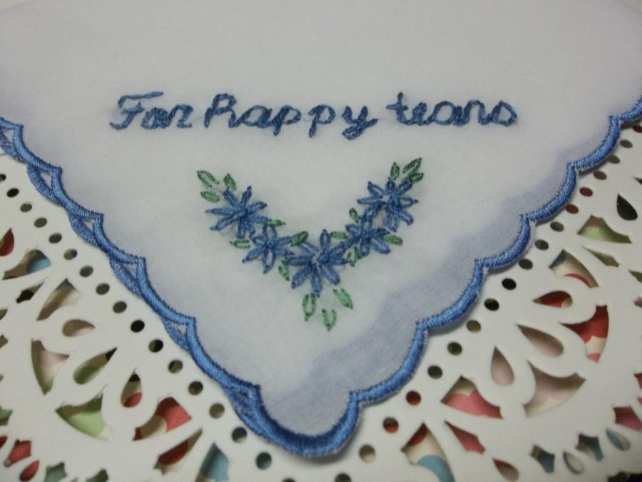 Something Blue No Ugly Crying For Hy Tears Wedding Handkerchief Hand Embroidered Scalloped Hanky Bridal Gift Present
