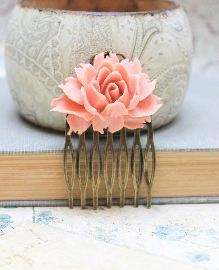 Hochzeit - Rose Comb, Brick Pink Peach, Flower Hair Comb, Wedding Hair Accessories, Spring Floral, Shabby Chic Romantic, Cabbage Rose