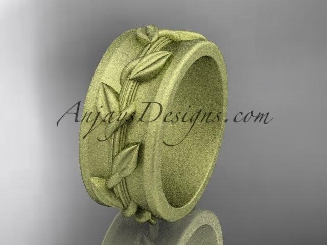 Wedding - 14kt yellow gold engagement ring, matte finish wedding band ADLR417G
