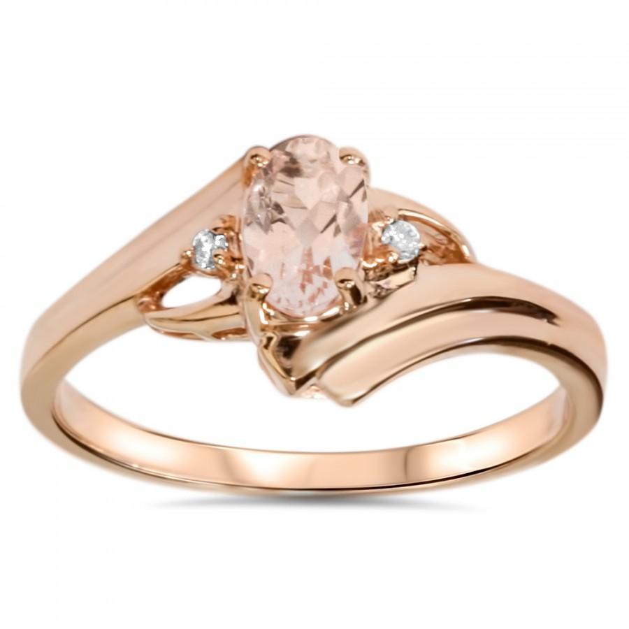Wedding - 1/2Ct Morganite Diamond Ring 14K Rose Gold Size 4-9