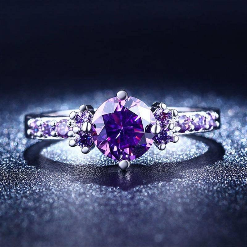 Mariage - Amethyst Silver Plated Ring Diamond (Special Opening Offer)