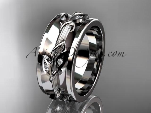 زفاف - Spring Collection, Unique Diamond Engagement Rings,Engagement Sets,Birthstone Rings - 14kt white gold diamond leaf and vine wedding ring, engagement ring wedding band