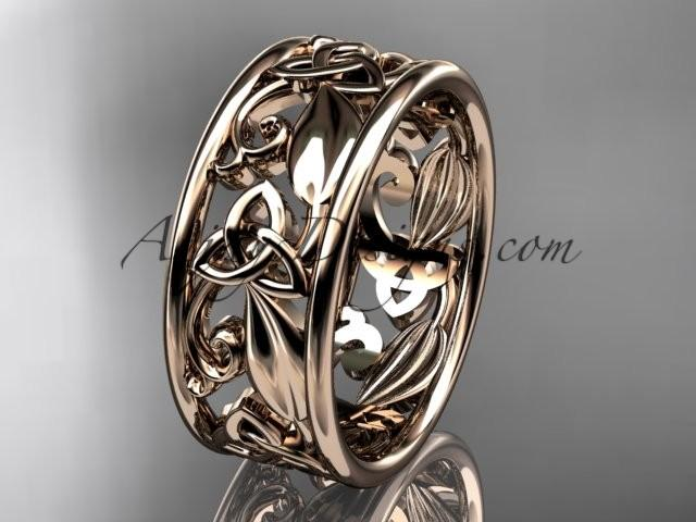 Spring Collection, Unique Diamond Engagement Rings,Engagement  Sets,Birthstone Rings   14kt Rose Gold Celtic Trinity Knot Engagement Ring  Wedding Band