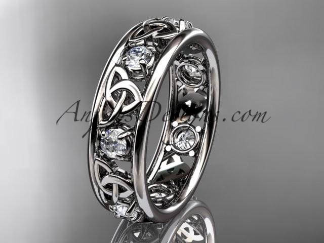 Свадьба - Spring Collection, Unique Diamond Engagement Rings,Engagement Sets,Birthstone Rings - 14kt white gold celtic trinity knot engagement ring wedding band