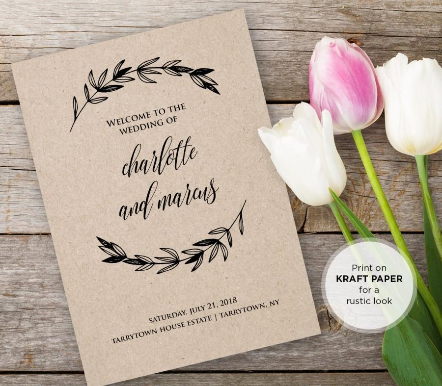 Mariage - Wedding Program Printable, DiY Rustic Kraft Ceremony Program Template, INSTANT DOWNLOAD, Editable Text, PDF Template, Digital Download