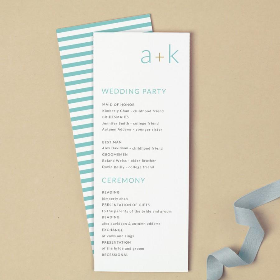 Mariage - Printable Wedding Program Template
