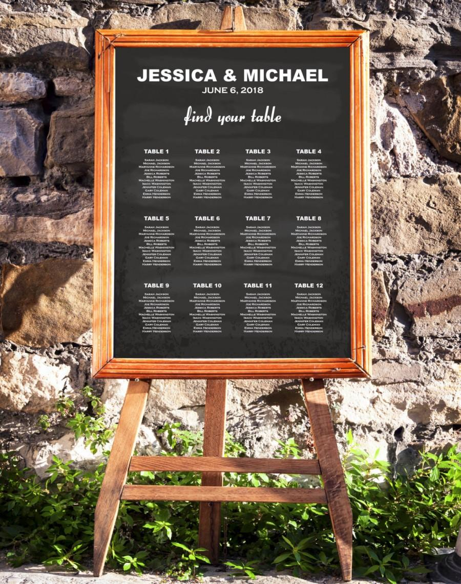 wedding seating chart template chalkboard rustic seating chart rustic wedding diy seating chart editable pdf instant download e09a