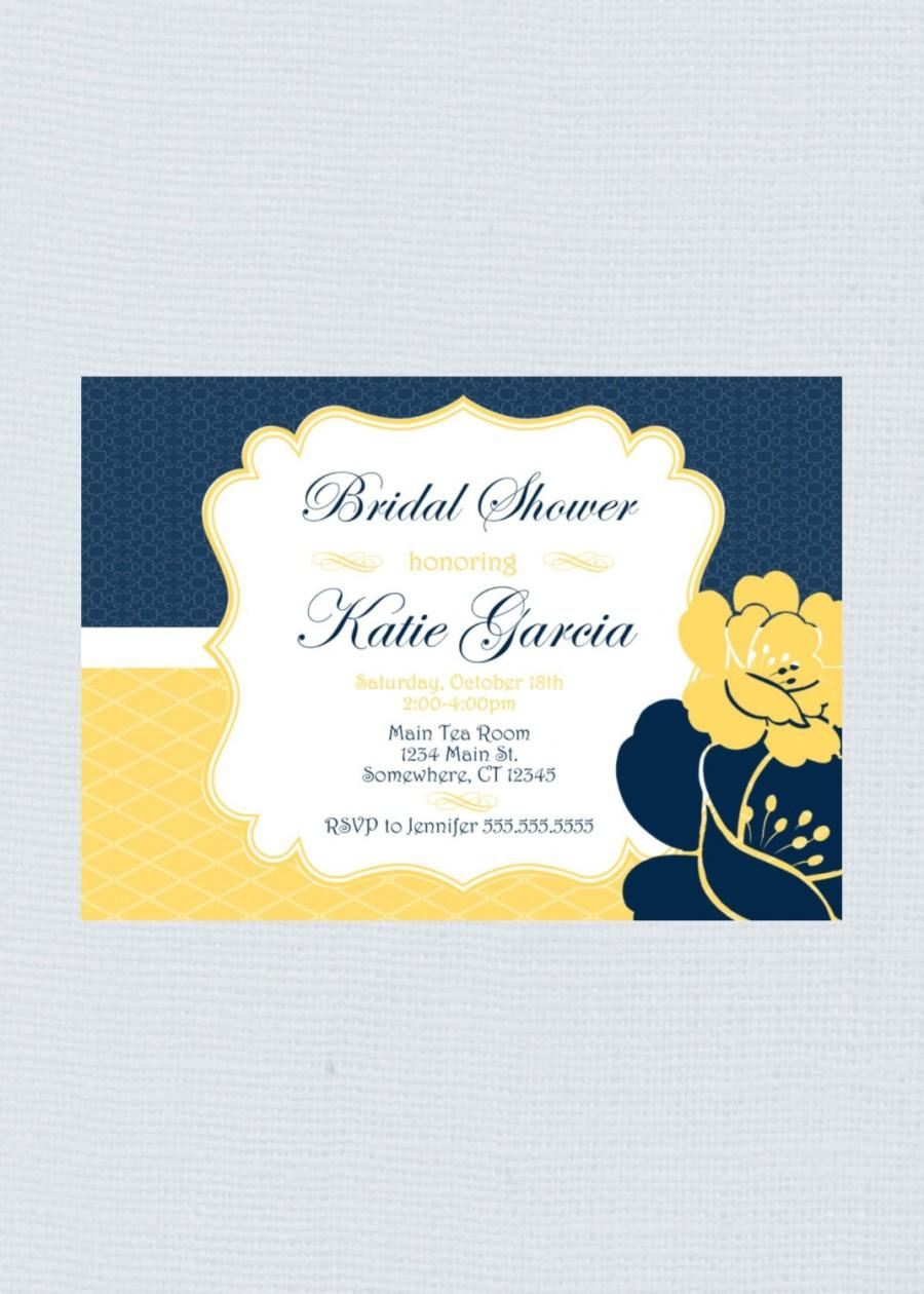 Hochzeit - Beautiful Fancy Floral Yellow, White, & Navy Bridal Shower Invitation. PRINTED or PRINTABLE Wedding Shower Invite PDF Invitation for her.