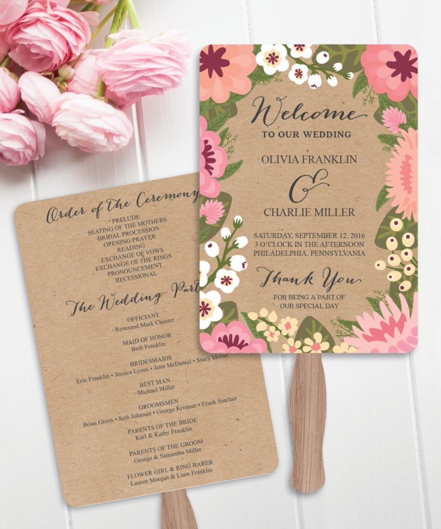 modern garden diy printable wedding fan programs wedding program