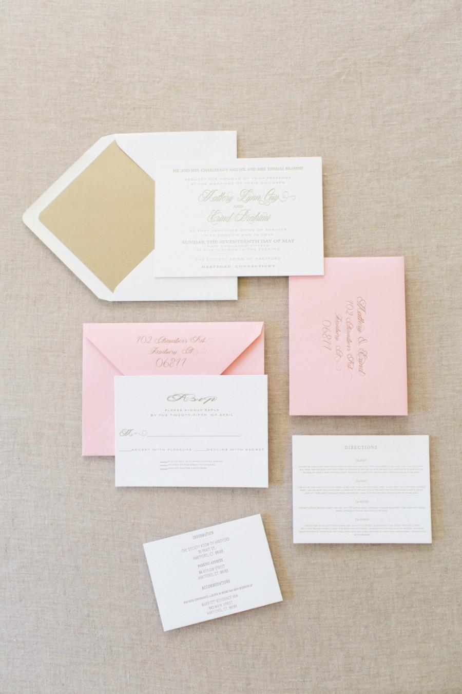 Wedding - Letterpress Gold Elegant Wedding Invitation Suite with Pink Edge Paint