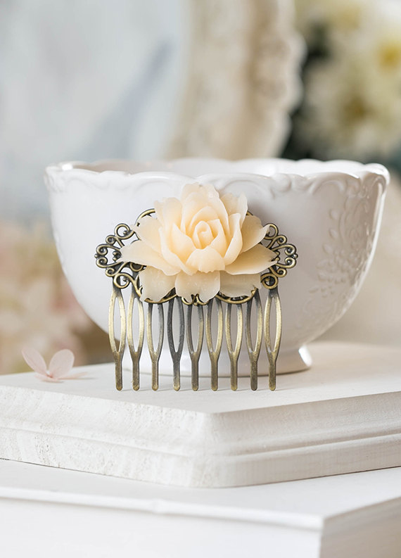 Свадьба - Ivory Rose Hair Comb Antiqued Brass Filigree Comb with Ivory Rose Floral Bridal Hair Comb Bridesmaid Gift Flower Girl Gift Rustic Vintage