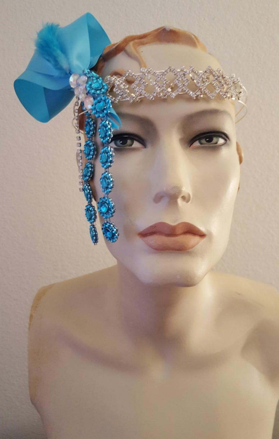 Свадьба - Turquoise and Silver Flapper Gatsby Goddess Crystal Bridal Headpiece Wedding Party Costume