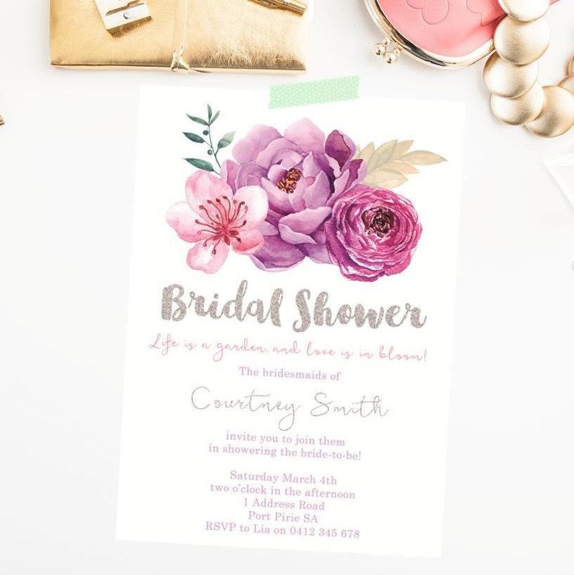 Bridal Shower Invitation Printable. Floral Bridal Shower. Modern ...