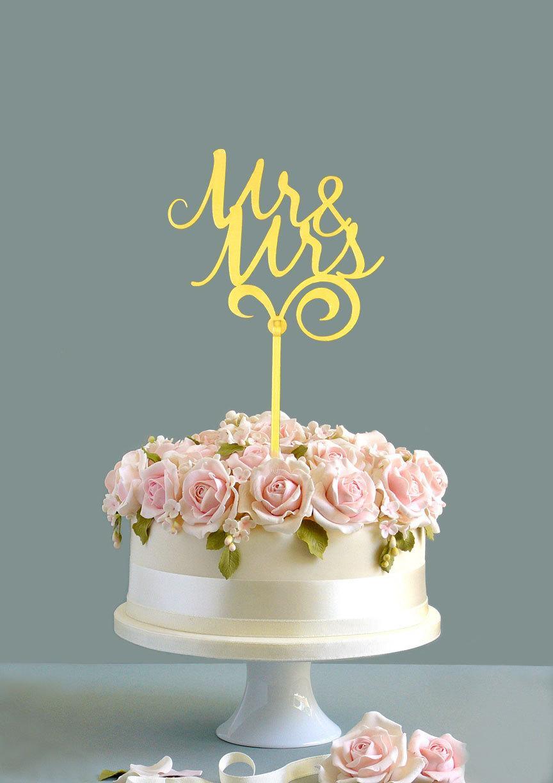 Mariage - Wedding cake topper, Mr & Mrs cake topper, gold cake topper, wooden cake topper, custom cake topper