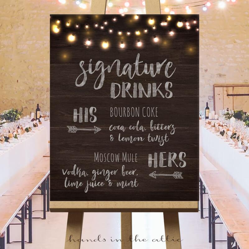 Wedding Signature Drinks Sign Printable, Wedding Drinks Sign, Wedding Bar  Menu, Signature Drink Sign Unique Wedding Ideas Customized DIGITAL