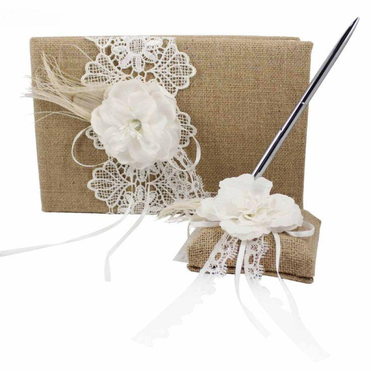 jute burlap wedding guest book and pen set with floral lace ribbon