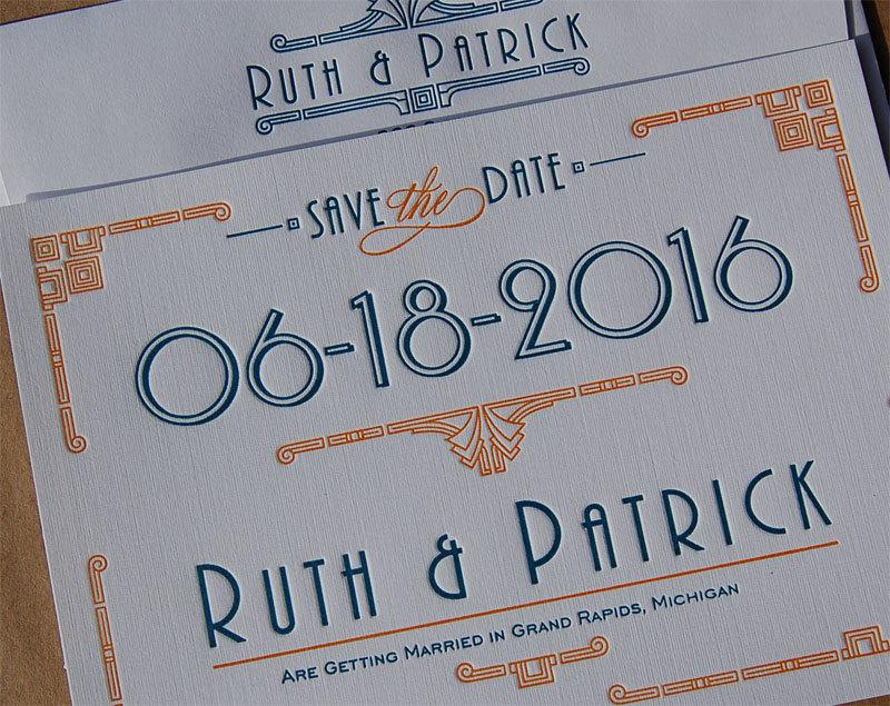 Mariage - Letterpress Save the Date Card sample, Save the Date card, Custom Save the Date card, Art Deco Save the Date, Save the Date and envelope
