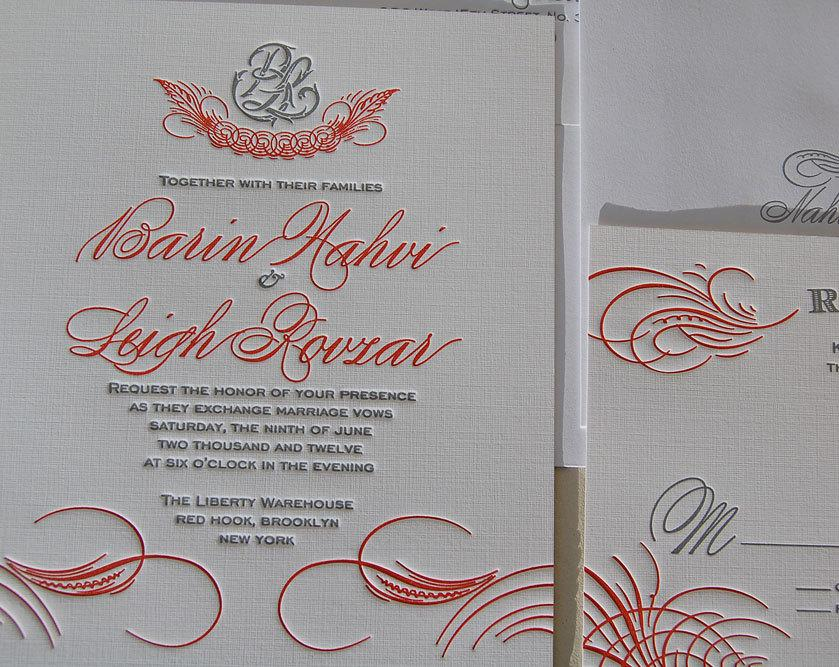 Flourish Wedding Invitations: Letterpress Wedding Invitation Sample, Wedding Invitation