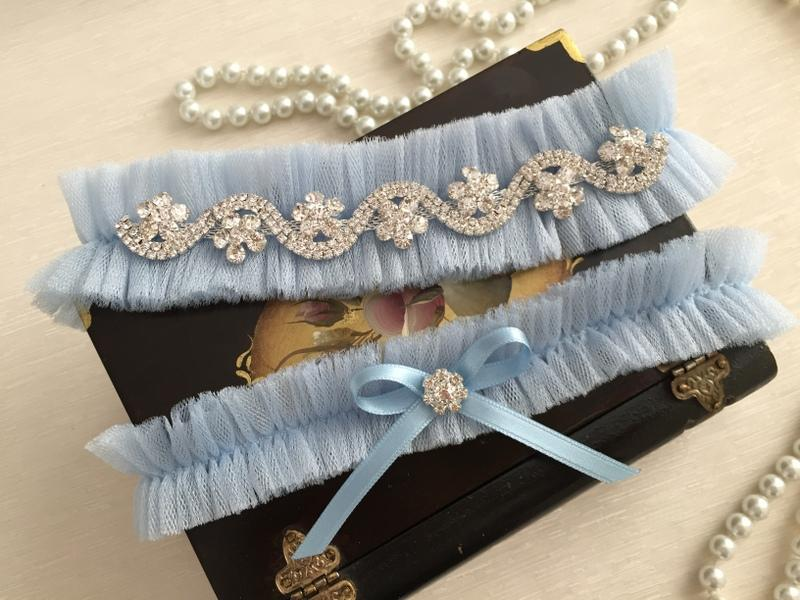Wedding - wedding garter set, blue tulle bridal garter set, blue bow, rhinestone