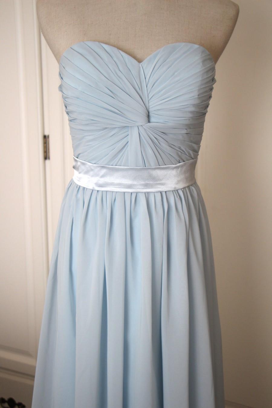 Light blue short floor length sweetheart bridesmaid dress for Short light blue wedding dress