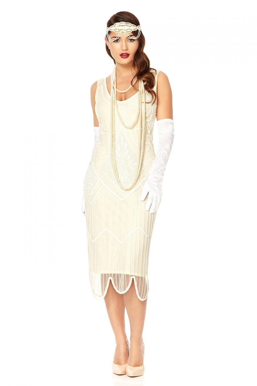 Evelyn Wedding Dress White Vintage 1920s Inspired Flapper Great ...