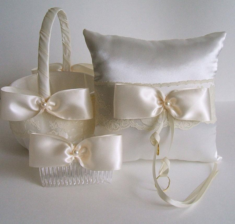زفاف - Wedding Flowergirl Basket-Bow Comb & Pillow  Handmade VALERIE Available in Ivory or White