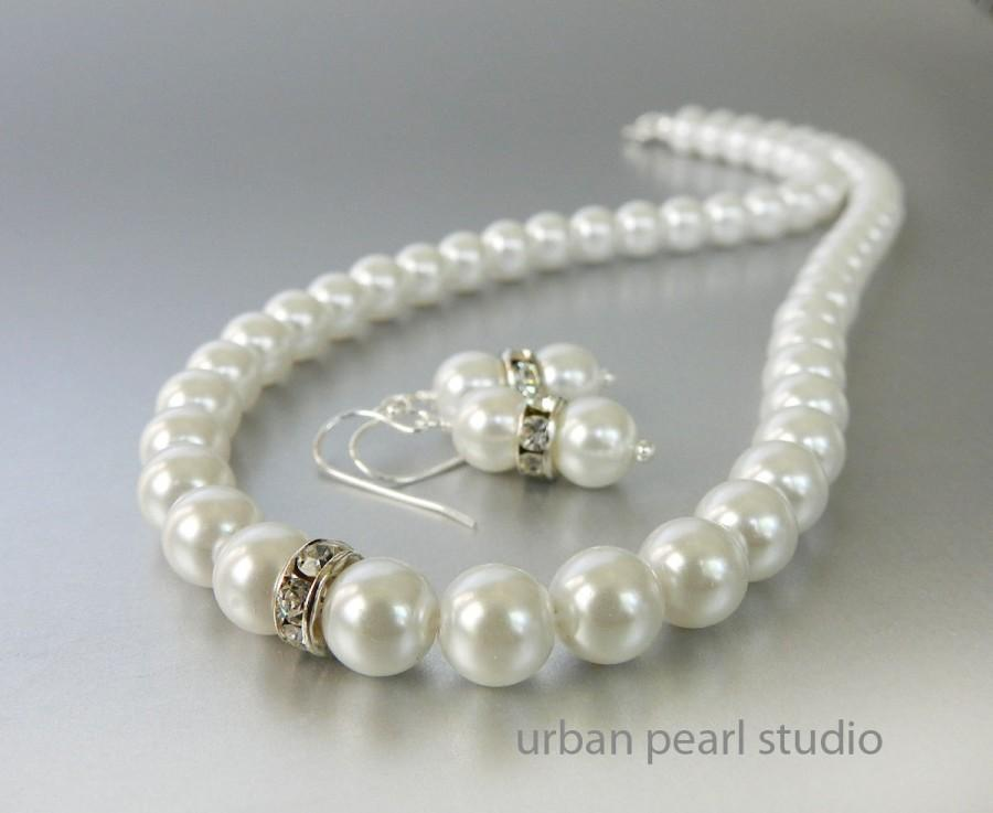 Mariage - Bridesmaids Jewelry Sets, Pearl Earrings and Necklace Set, Wedding Pearl Jewelry