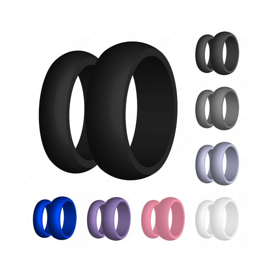 Mariage - Silicone Wedding Band Ring US Made Medical Grade Hypoallergenic Cool Modern Athletic Military Men's Women's No Cheesy Logos (FREE SHIPPING)