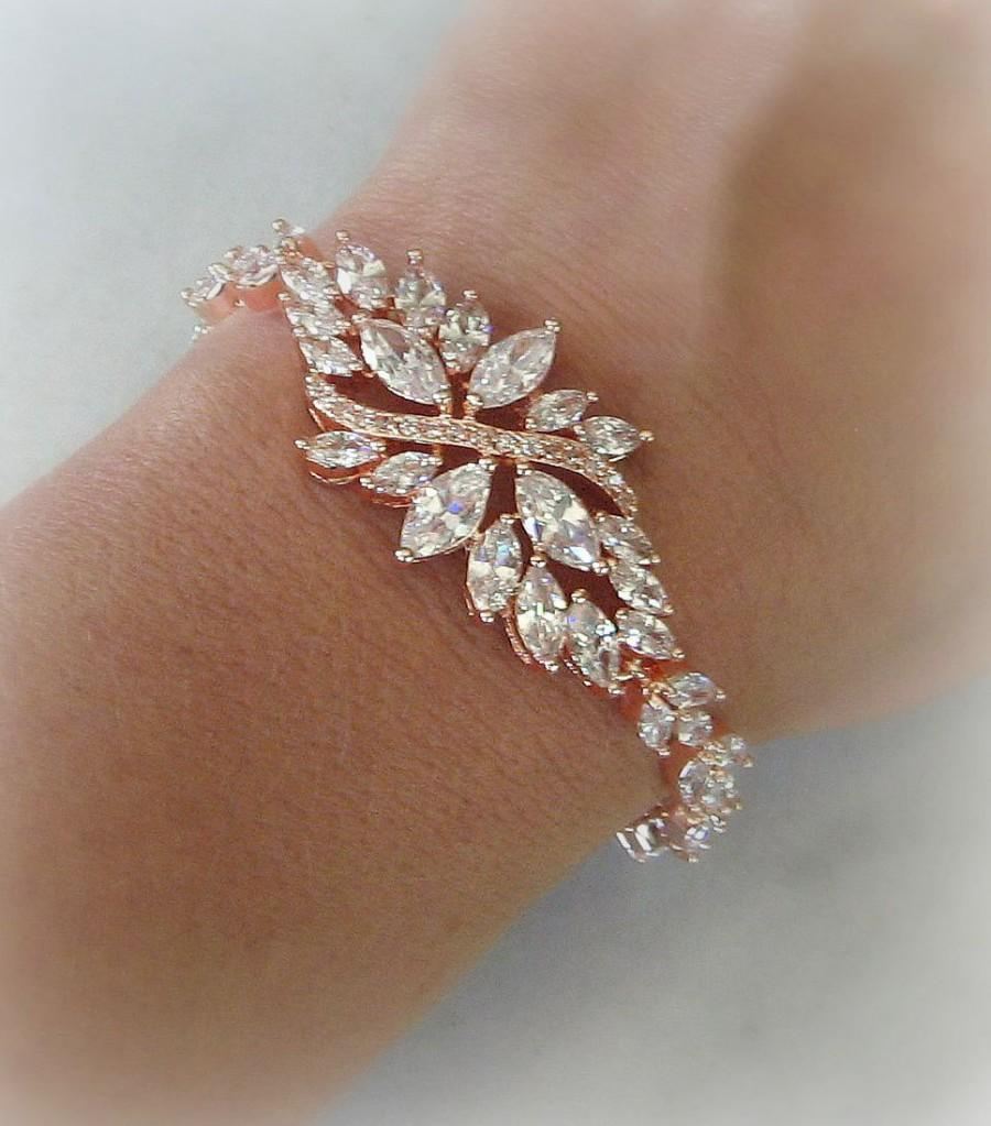 Rose Gold Bracelet Swarovski Crystal Bridal Bracelet Cubic