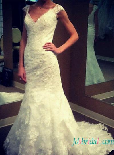Wedding - H1536 Elegant modern lace modified a line wedding dress