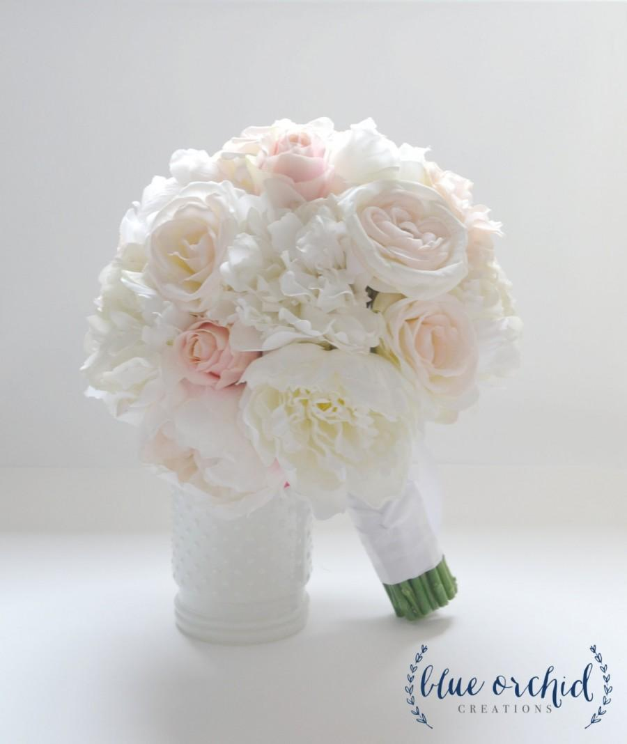 Peony Bouquet With Roses In Blush And Ivory Ivory Peony Bouquet
