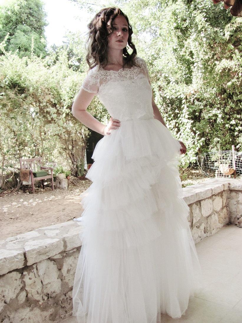 Wedding - SPECIAL PRICE Wearing Clouds luxurious wedding Gown - two pieces - the wedding skirt + lined lace top as showed in the first 3  pictures