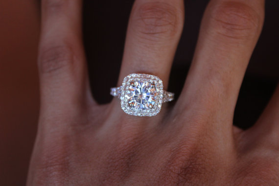 2 carat forever one moissanite double halo engagement ring 14k 18k or platinum 250 carat 85mm forever one moissanite engagement ring 14k white gold - 2 Carat Wedding Ring