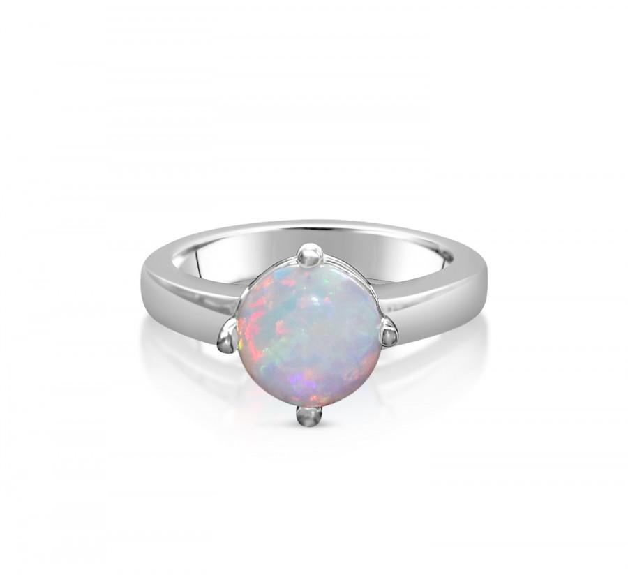 ON SALE Genuine Opal Solitaire Ring In Titanium White Gold Engagement R
