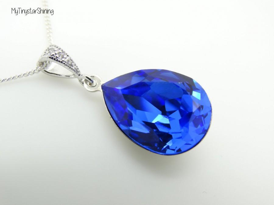 Blue Sapphire Necklace Teardrop Blue Necklace Swarovski Crystal Sapphire  Necklace Blue necklace Wedding Jewelry Bridal Blue Jewelry 45122ac3c