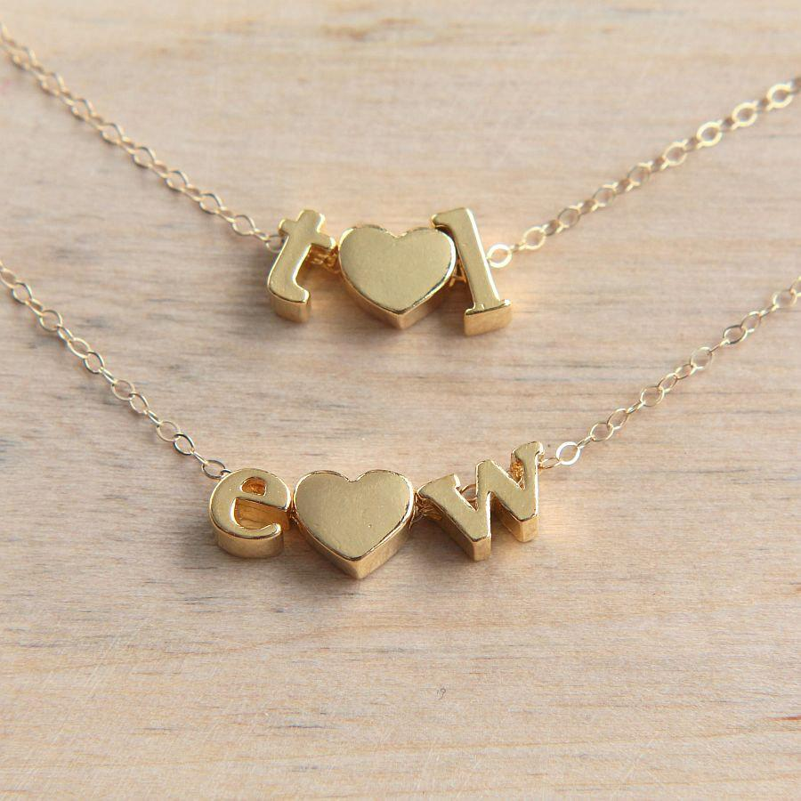 heart necklace gold letter necklace love necklace dainty initial jewelry personalized letter necklace initial necklace bridesmaid gift