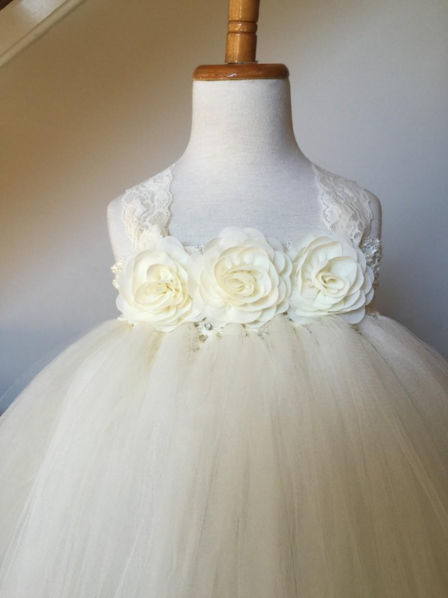 Ivory Flower Girl Satin Lace Rosette Tutu Dress Flower