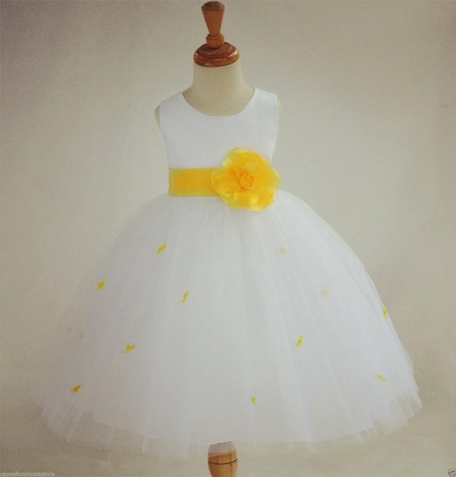 Ivory Sunbeam Yellow Rosebud Flower Girl Dress Sash Pageant Wedding
