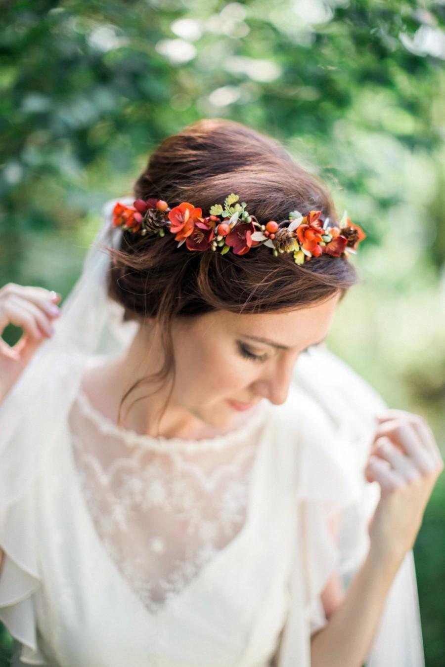 Fall Flower Crown Fall Headband Orange Hair Wreath Autumn Floral