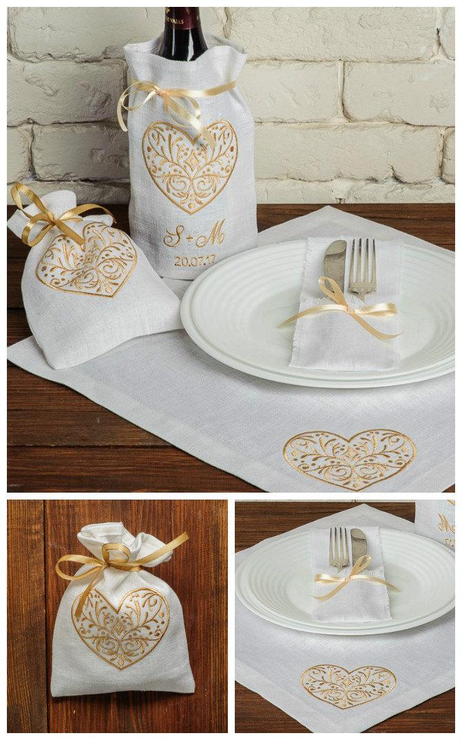 Set Of 19 Wedding Table Decoration Personalized Linen Embroidered Napkins Favor Bags Silverware Holders Wine Bag Monogram Embroidery