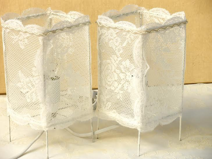 Two Vintage Table Lamp Shade In Antique Lace Bedroom Lighting - Shabby chic table lamps for bedroom